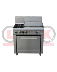 2 GAS OPEN BURNER COOKTOP + 600mm GAS GRIDDLE + STD OVEN